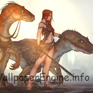 ARK:Survival Evolved Girl with Raptors