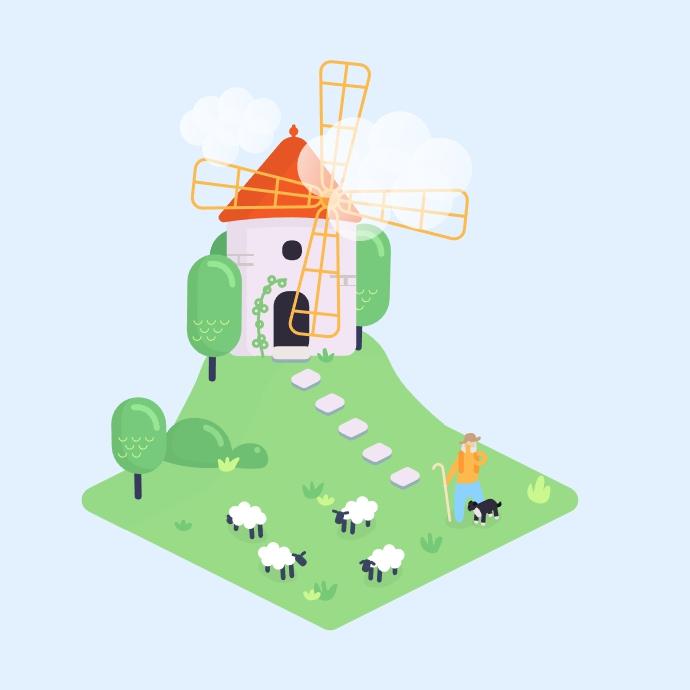 Windmill & sheep