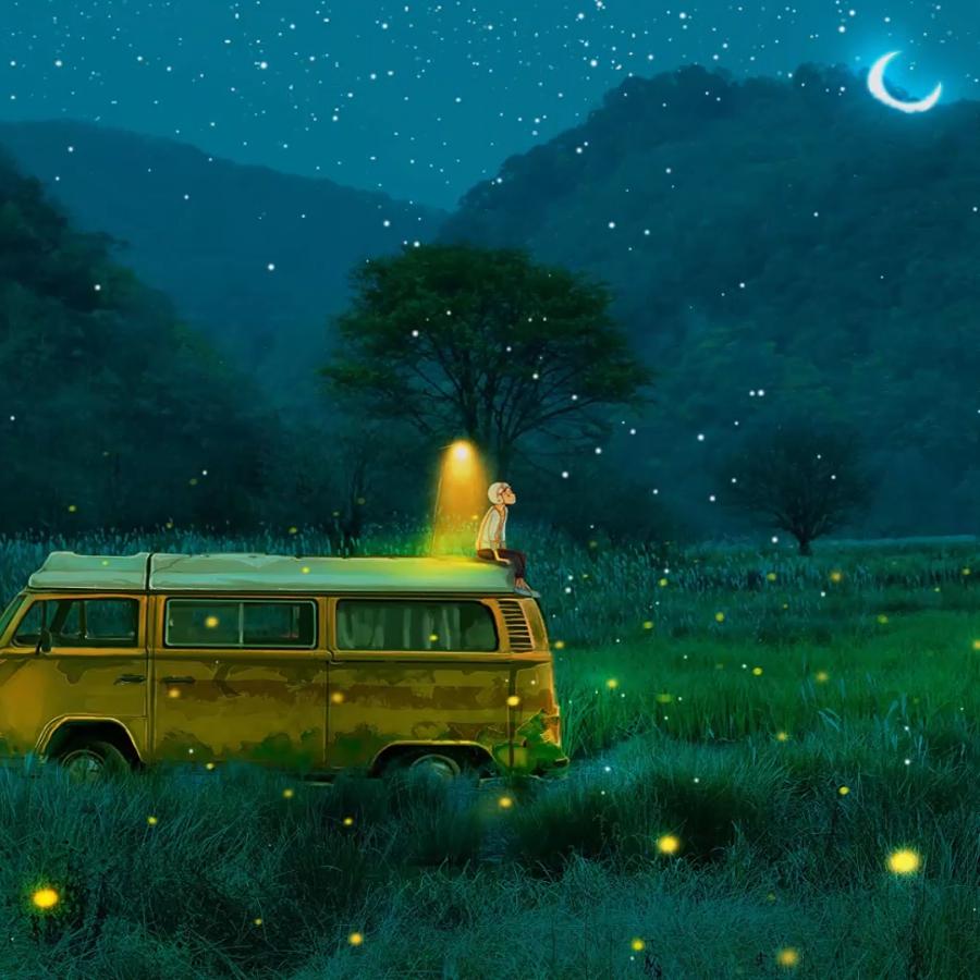 Lost7 | 3 screens wallpaper | Van Car Little Boy In The Night