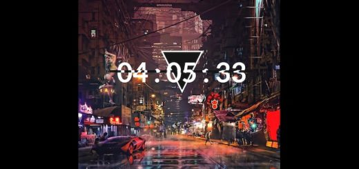 Cyberpunk city Clock night