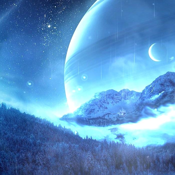 Snow Planet Night Sky