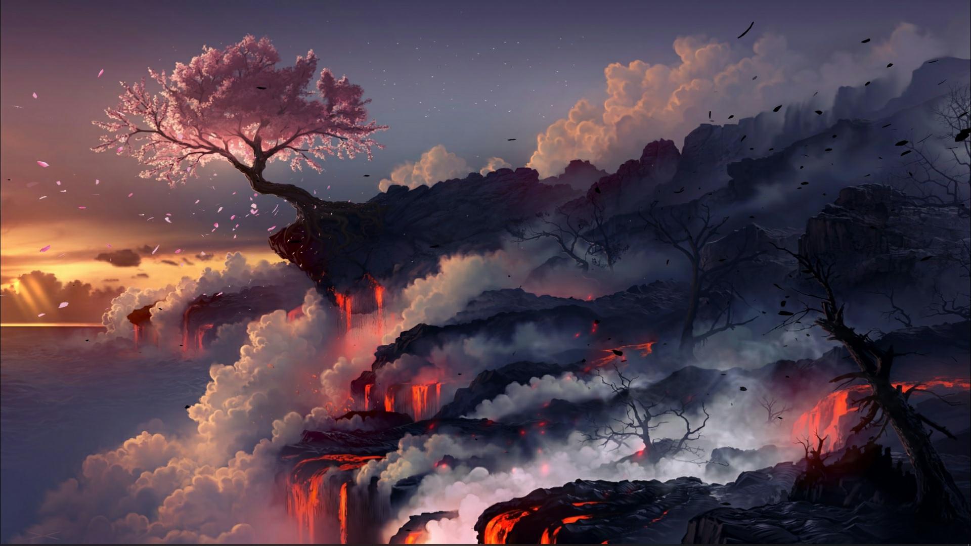 Sakura on the volcano