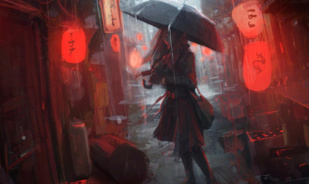 Живые обои Rainy Japanese Alleyway - Wallpaper Engine