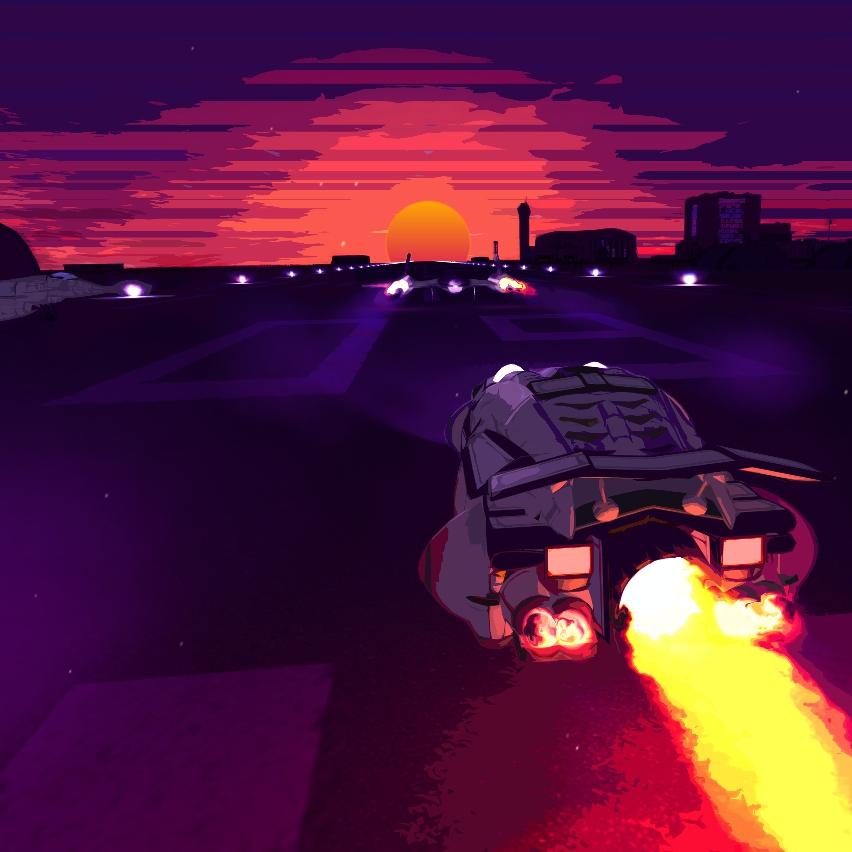 Живые обои Sunset battle station neon retro space ...